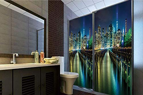 Horrisophie dodo 3D Privacy Window Film No Glue,New York,Pier Pilings and Manhattan Skyline at Night Downtown Urban East River,Dark Blue Green Yellow,70.86