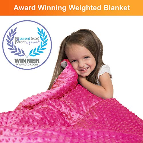 "Supersoft 5 Lbs Calming Weighted Blanket for Kids - 36"" x 48"" Children Heavy Blanket for Sleeping with Minky Cover - Pink Kid Comfort Sensory Blankets for Girls"