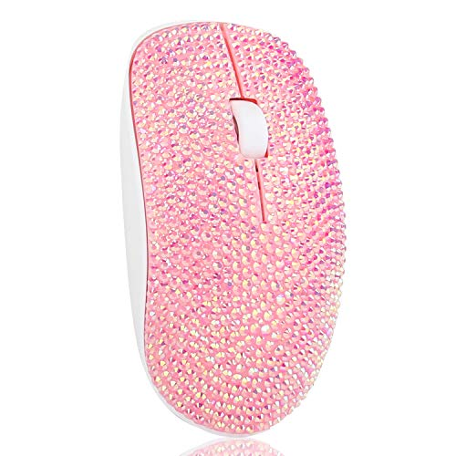 Pink Wireless Mouse, Hepix 2.4Ghz Leopard Crystal Rhinestone Coverd Computer Mouse with Nano USB Receiver, 3 Buttons for Notebook, PC, Laptop, Computer, MacBook (Bling Pink)