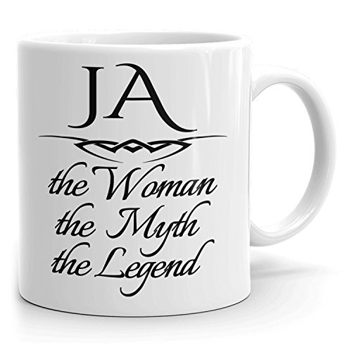 Best Personalized Womens Gift! The Woman the Myth the Legend - Coffee Mug Cup for Mom Girlfriend Wife Grandma Sister in the Morning or the Office - J Set 1