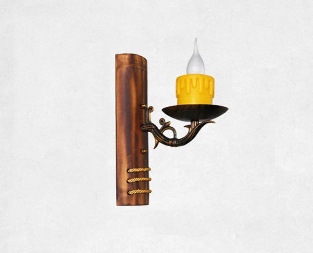 Lampada da parete, stile americano Lampada da parete antica rurale Luogo creativo Cafe Scale di ferro barre Lampada da parete di bambù E14 Facile da pulire (colore   One pair)