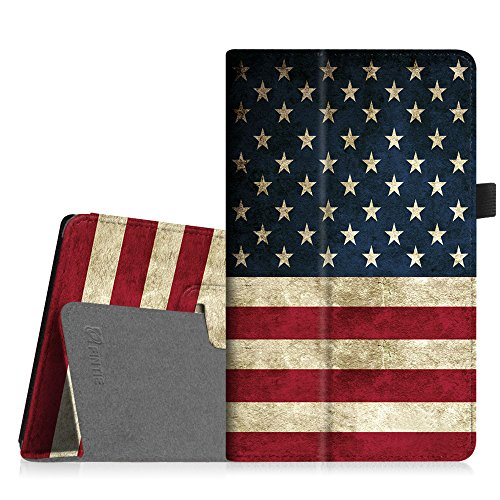 Fintie Folio Case for Amazon Fire HD 8 (Previous Generation - 6th) 2016 Release - Slim Fit Premium Vegan Leather Standing Protective Cover with Auto Wake/Sleep, US Flag