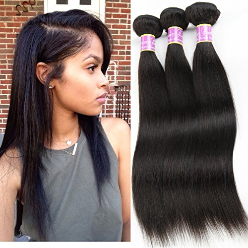 Price comparison product image Beauty Youth Unprocessed 3 Bundles Straight Brazilian Remy Virgin Hair Extensions 7A Human Hair (3pcs 16inches, Natural Color)