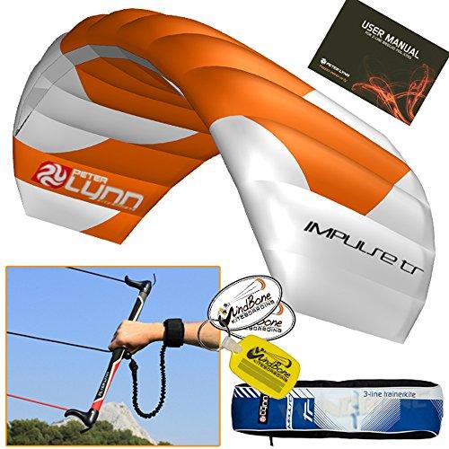 Peter Lynn Impulse TR 1.5M 3-Line Trainer Kite Control Bar Bundle + WindBone Key Chain + Stickers - Kitesurfing Kiteboarding Power Foil Traction Kiting (2018 Model) by Peter Lynn Impulse TR II