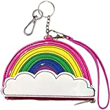 iscream Girls' Rainbow Wristlet Clutch Coin and Key Purse in Faux Patent Leather