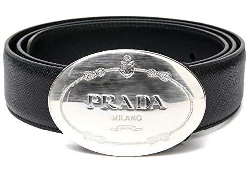 Wiberlux Prada Men's Logo Engraved Buckle Real Leather Belt 85 - Sale Prada