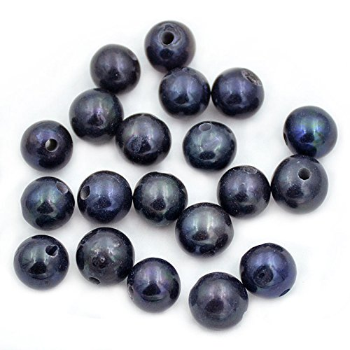 AD Beads Natural Gemstone 10mm Round Loose Beads Big Hole 2mm Sized 30pcs (Black Pearl)