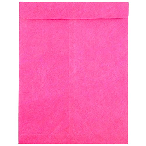 JAM PAPER Tyvek Tear-Proof Open End Catalog Envelopes - 10 x 13 - Fuchsia Pink - 25/Pack
