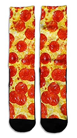"Pepperoni Pizza - Custom Elite Style Athletic Sport Socks Crew 18"""