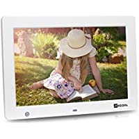 Arzopa 12.1 inch WideScreen Digital Photo & HD Video 1080p Frame Hi-Res 1280x800 with Motion Sensor Multifunction Advertising Player Support MP3 MP4 Video Clock Calendar (12inch White)