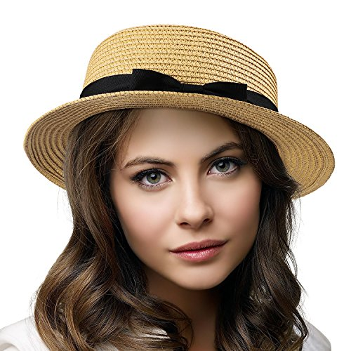 FAVOLOOK Women's Casual Boater Flat Top Hats, Sunscreen Anti - UV Wide Flat Brim Straw Beach Sunhat Caps