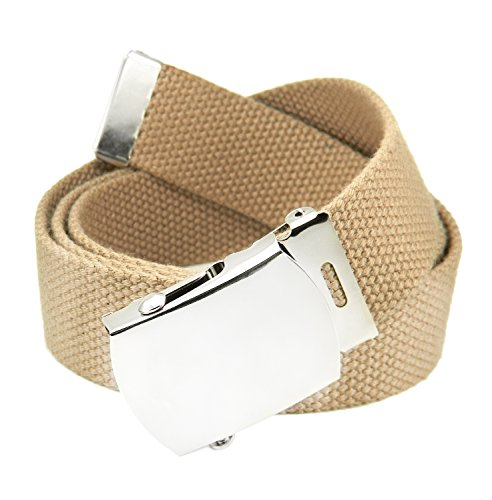 Classic Silver Men's Military Slider Buckle with Canvas Web Belt Small Khaki