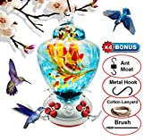 REZIPO Hummingbird Feeder with Perch - Hand Blown Glass - Orange - 40 Fluid Ounces Hummingbird Nectar Capacity Include Hanging Wires