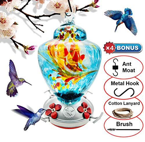 REZIPO Hummingbird Feeder with Perch - Hand Blown Glass - Blue - 38 Fluid Ounces Hummingbird Nectar Capacity Include Hanging Wires and Moat Hook ()