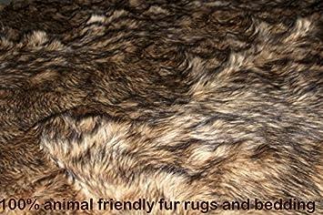 Fur Accents Wolf Skin Area Rug / Faux Fur Coyote Throw Blanket / Pelt Rug 5