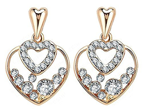 18K Gold Plated Women Stud Earrings Love Double Heart SWA Crystal Cubic Zirconia Colorful, Moon (Guys Dance Costumes)