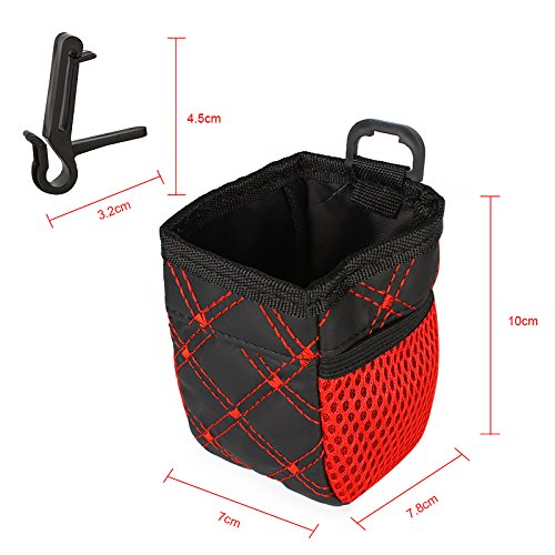 iTimo Car Air Vent Outlet Storage Bag Pen Card Tickets Phone Holder Container Red Grid Net Pocket Car Organizer Stowing Auto Accessory