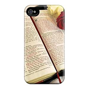 Fashion Protective Bible With Three Lovely Roses Case Cover For Iphone 4/4s