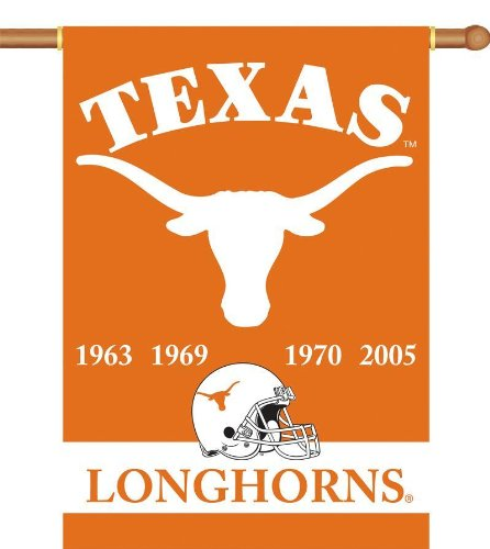 Longhorns Banner Texas Fan Ncaa - NCAA Texas Longhorns Champ Years 2-Sided 28-by-40 inch House Banner with  Pole Sleeve