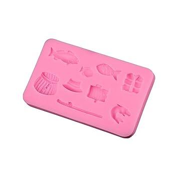 BESTONZON Moldes de silicona para repostería con forma de pez (rosa): Amazon.es: Hogar