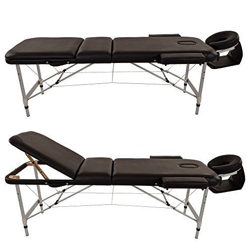 Merax aluminium 3 section portable folding massage table for Table salon retractable