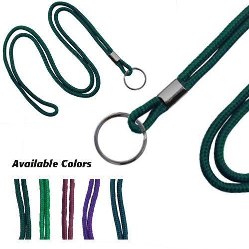 Purple Round Braid Lanyard - Purple Round Braid Lanyard with Black Split Ring - 1000pk