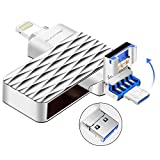 Lightning Flash Drive For iPhone ,Suntrsi Pen Drive Lightning Memory Stick External Memory Storage OTG Flash Drive Compatible to iPhone,iPad,iPod,Mac,Android and PC (32G Silver)