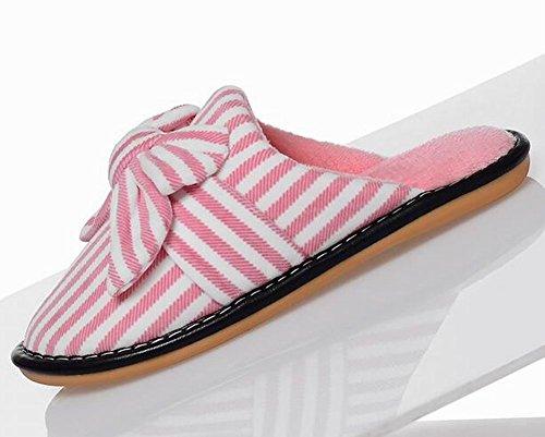 [pink Stripe] Zapatillas De Casa De Felpa Acogedoras Zapatillas De Invierno Zapatillas De Salón Fuzzy