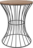 -Mesa auxiliar de metal con madera tablero-Mesa decorativa con estructura de metal curvado