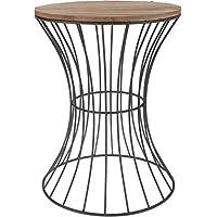 Designer Beistelltisch aus Metall mit Holz Tischplatte - dekorativer Tisch mit geschwungenem Metallgestell