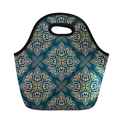 (Semtomn Lunch Tote Bag Damask Floral Pattern Victorian Flower Italy Baroque Scroll Elegant Reusable Neoprene Insulated Thermal Outdoor Picnic Lunchbox for Men Women)