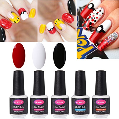 CLAVUZ Gel Nail Polish 5pcs Colors Collection Set UV LED Nail DIY Nail Art Nail (Halloween Nail Designs Red And Black)