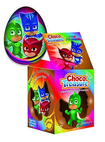 PJ Masks Choco Treasure Eggs with Toy Surprise!, Tray of 12 Eggs | 32 Collectible Toys | Fun For All Ages