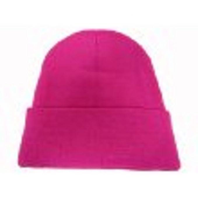 Amazon.com  Hot Pink Long Beanie   Knit Ski Hat   Warm In Winter ... 454f7d47cf9