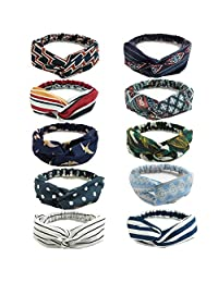Gbateri 10 Pack Women Headbands Criss Cross Head Wrap Twisted Turban Knotted Hairband