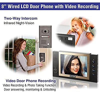 """ZOTER 8"""" inch Color LCD Wired Video Door Phone Doorbell Home Entry Intercom Kit System 1 Monitor 1 Camera with SD Recording Night Vision 801D2 (Black)"""