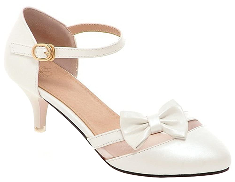Vintage Inspired Wedding Dresses IDIFU Womens Sweet Bow Stiletto Kitten Heel Pumps Ankle Strap Pointed Toe Sandals $32.99 AT vintagedancer.com
