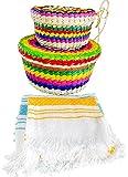 2 Handwoven Basket Tortillero & Pancake Handloomed Tortilla Cloth 2 Pack Warm Keeper Bundle 100% Palm Mexican Vintage Art.