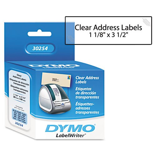 Dymo Corporation Products - Address Labels, 3-1/2amp;quot;x1-1/8amp;quot;, 130 Labels/BX, Clear - Sold as 1 RL - Paper address labels print directly from the roll for simple use. Print labels one-up on in a batch. Compatible with DYMO LabelWriter printer  by DYMO (Image #1)