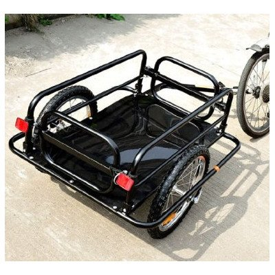Aosom Wanderer Folding Bicycle Bike Cargo Storage Cart and Luggage Trailer with Hitch Black
