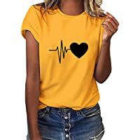 Camiseta de Mujer Manga Corta con Estampado de Corazón Camiseta básica de Cuello Redondo Camiseta básica Ligera Camiseta…
