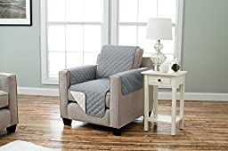 Deluxe Reversible Quilted Furniture Protector. Two Fresh Looks in One. By Home Fashion Designs Brand. (Chair - Charcoal / Beige)