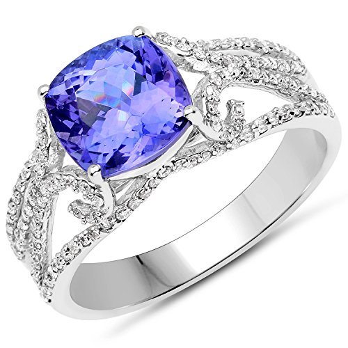 14K White Gold 3.11 Carat Genuine Tanzanite and White Diamond Ring