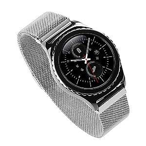 Generic Watch acero inoxidable para Samsung S Gear Band Classic, modo duradero Milanese Watch-Band Bracelets de sustitución Watchband Correa con hebilla de cierre magnético para Samsung Gear S Classic con conector (no incluye) Watch
