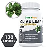 Best Olive Leaf Extract (Non-GMO & Gluten Free) 750 mg - 40% Oleuropein - Vegetarian - Super Strength - Immune Support, Cardiovascular Health & Antioxidant Supplement - No Oil - 120 Capsules