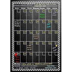 """Large Vertical Magnetic Refrigerator Chalkboard Dry Erase Calendar 17"""" X 12"""" (Vertical Dusty Chalkboard Design)"""