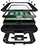 iPhone SE 2020 Case,Gorilla Glass Luxury Aluminum Alloy Protective Metal Extreme Shockproof Military Bumper Heavy Duty Cover Shell Case Skin Protector for Apple iPhone SE 2020 /8/7 4.7inch (Black)