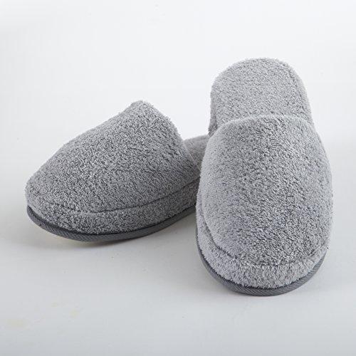 Turkishtowels Luxury 100% Cotton Terry SPA Slippers in White - Medium Steel