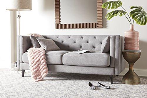 Elle Decor Celeste Tufted Sofa, Velvet, Pearl