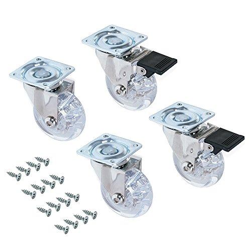 EMUCA - Lote de 4 Ruedas pivotantes para Mueble Ø50mm con Placa de Montaje y rodamiento de Bolas, Ruedas de Goma para Muebles Color Transparente
